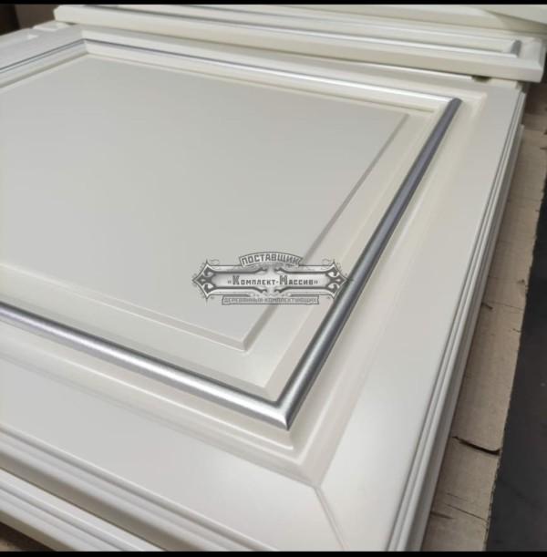 Кухонные Фасады белые с серебром